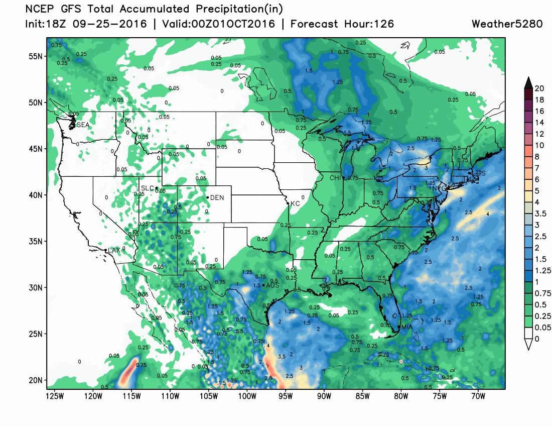 GFS precipitation forecast through Friday shows no precipitation across eastern Colorado | Weather5280 Models