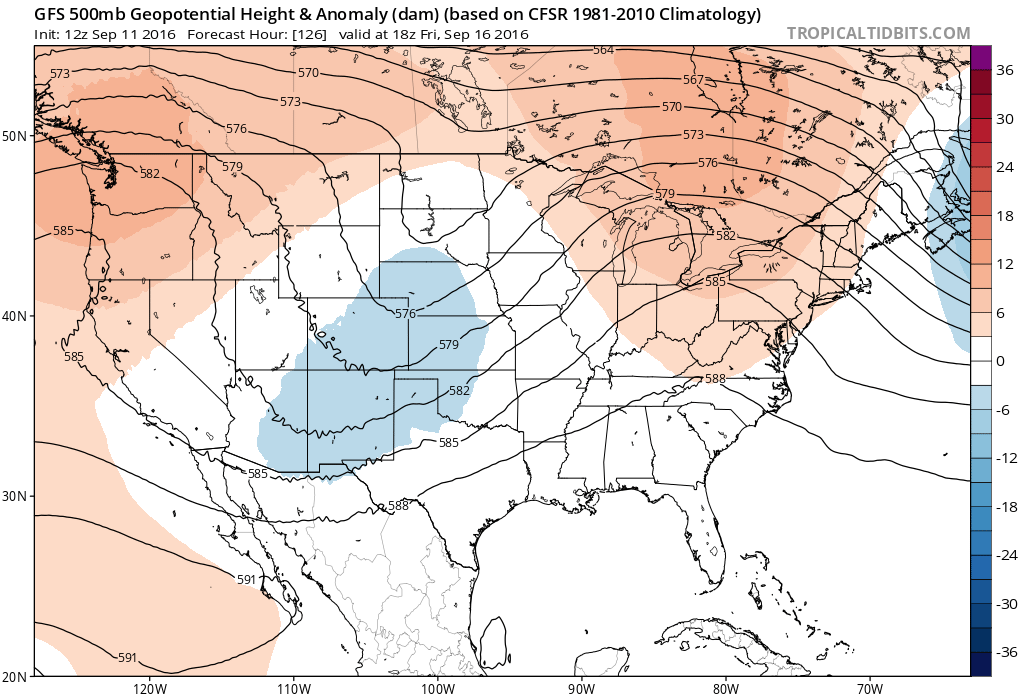 12Z GFS 500 mb heights for 18Z Friday|Source: Tropical Tidbits