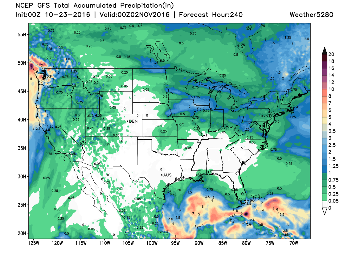 Latest 00z GFS forecast shows little to no precipitation across eastern Colorado over the next week+, a little more hope for western Colorado, but not all the encouraging either | Weather5280 Models
