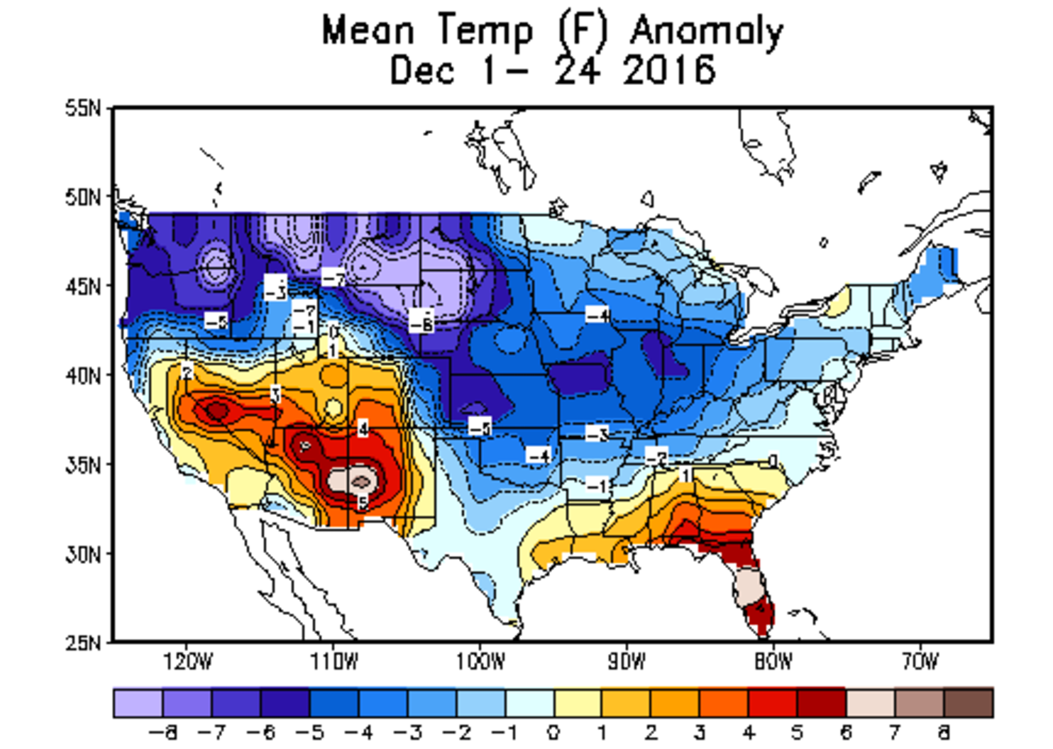 Month to date temperature departures from average across the United States | December, 2016