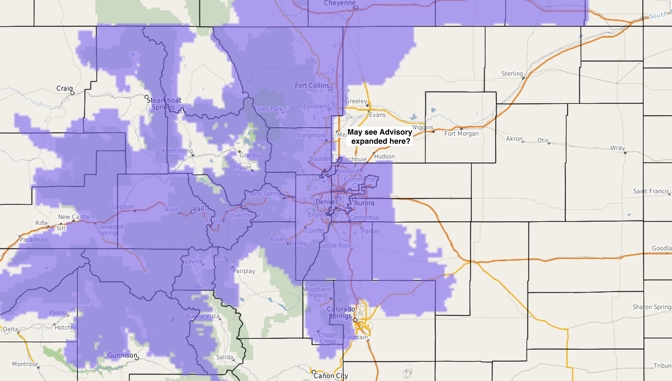 Winter Weather Advisory in purple in effect from 6pm Tuesday though noon Wednesday