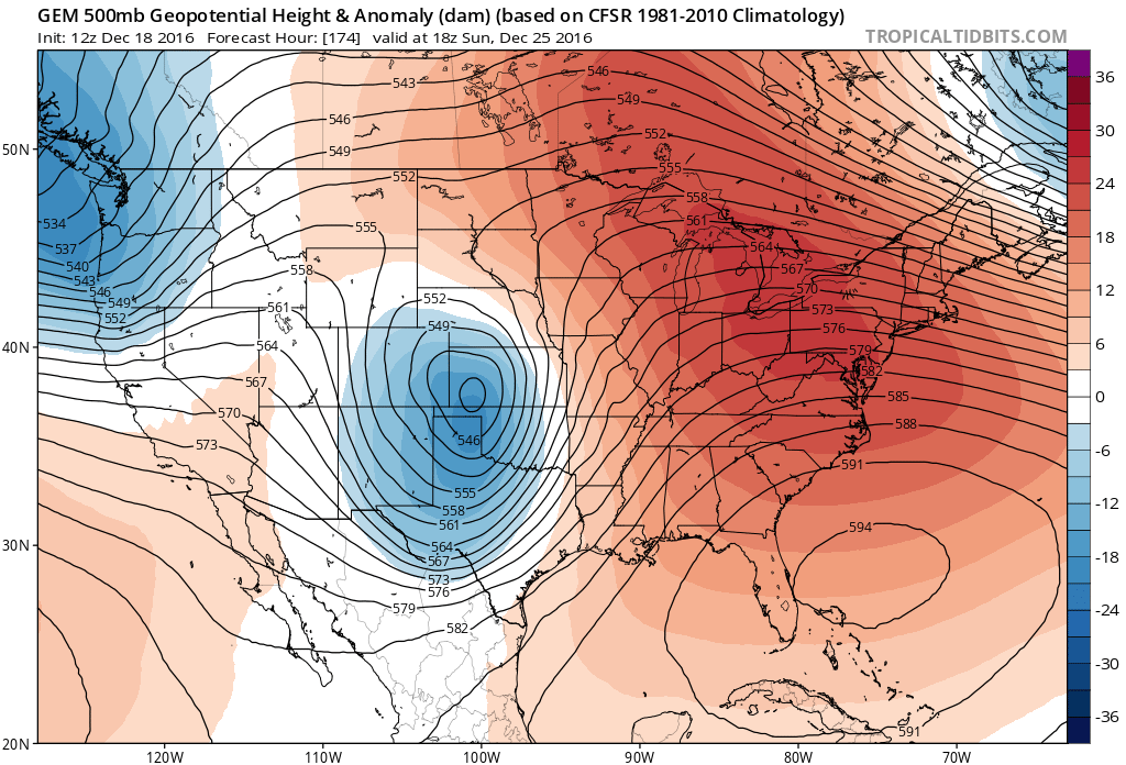 12Z GEM 500 mb heights/anomalies for 18Z Sunday|Source: Tropical Tidbits