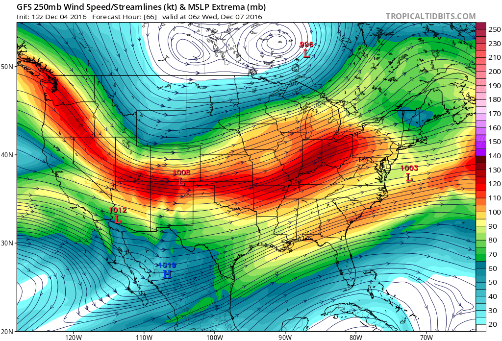 12Z GFS 250 mb winds for 03Z Wednesday|Source: COD Weather