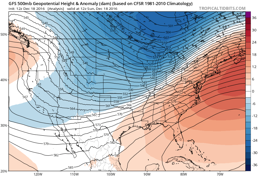 12Z GFS 500 mb heights and anomalies at 12Z Sunday morning (analysis)|Source: Tropical Tidbits