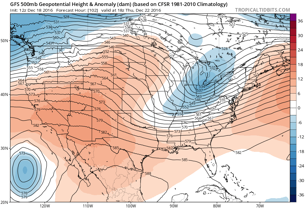 12Z GFS 500 mb heights/anomalies at 18Z Thursday|Source: Tropical Tidbits