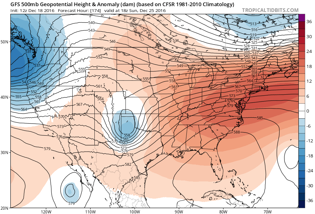 12Z GFS 500 mb heights/anomalies for 18Z Sunday|Source: Tropical Tidbits