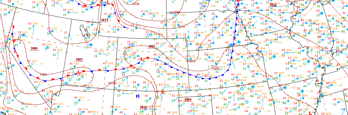 Cold front as of Monday evening was draped across Colorado