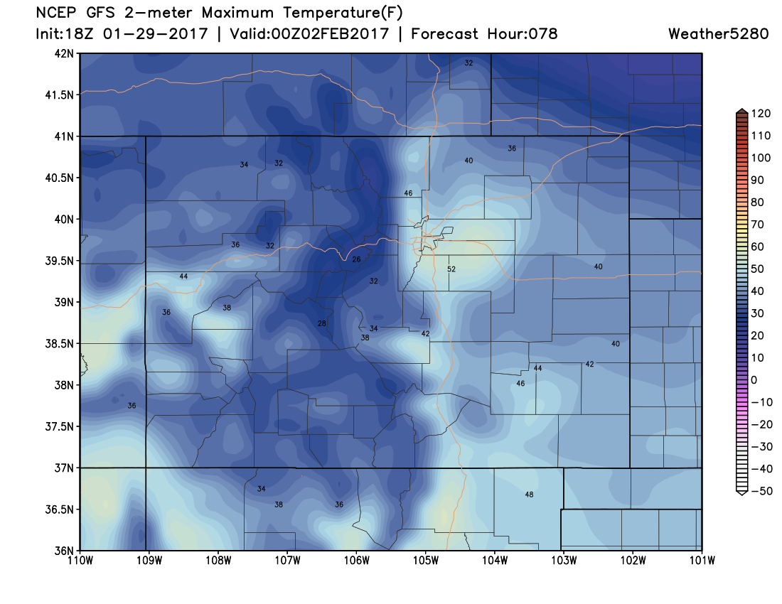 18Z GFS 2m Maximum Temperatures at 5 PM MST on Wednesday|Source: Weather5280