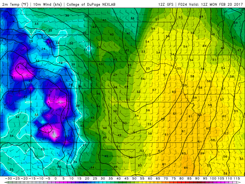 12Z GFS 2m Temperatures for 11PM MST Sunday|Source: COD Weather
