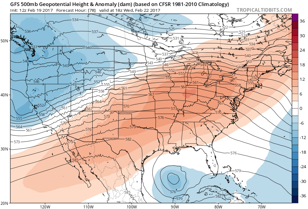 12Z GFS 500mb Heights and Anomalies at 11AM MST Wednesday|Source: Tropical Tidbits