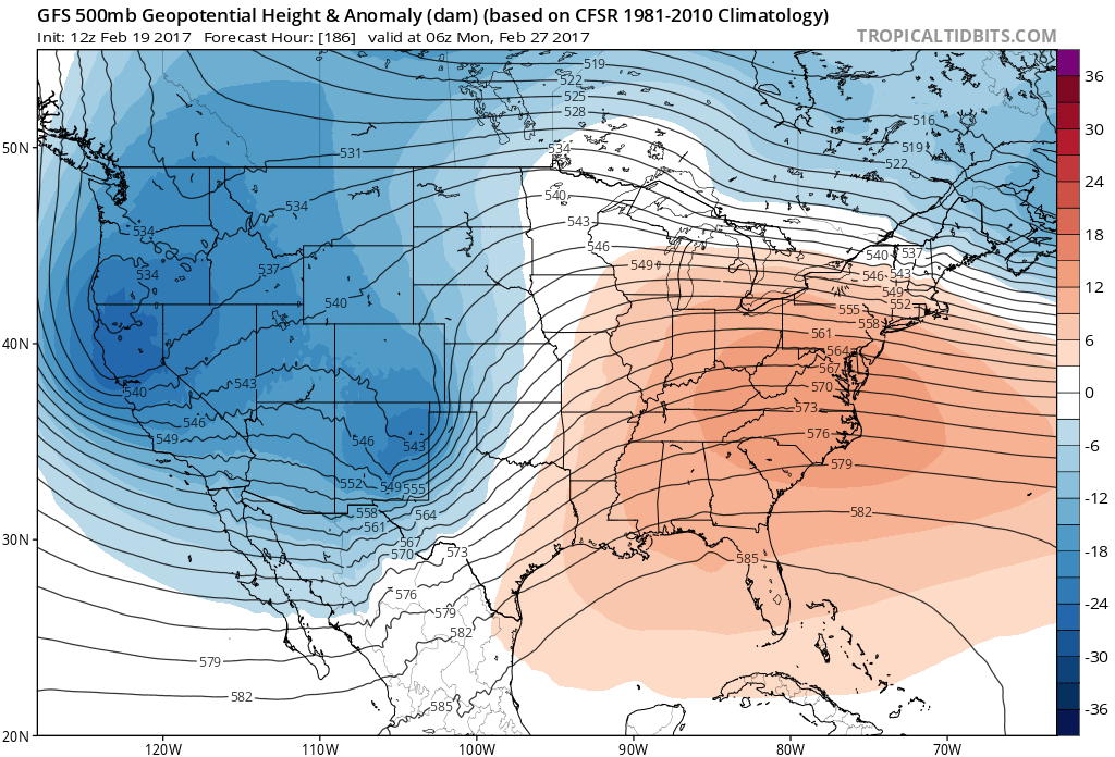12Z GFS 500mb Geopotential Heights and Anomalies for 11PM Sunday February 27. Troughing indicates a more active storm track. | Source: Tropical Tidbits
