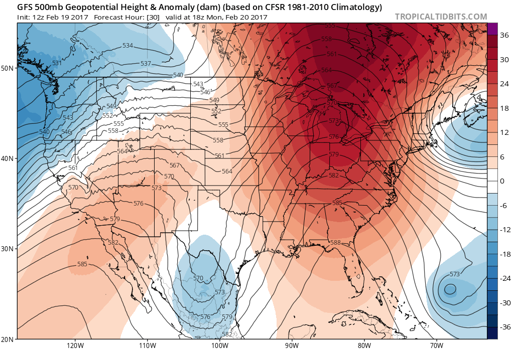 12Z 500 mb Geopotential Heights/Anomalies for 11AM MST Monday|Source: Tropical Tidbits