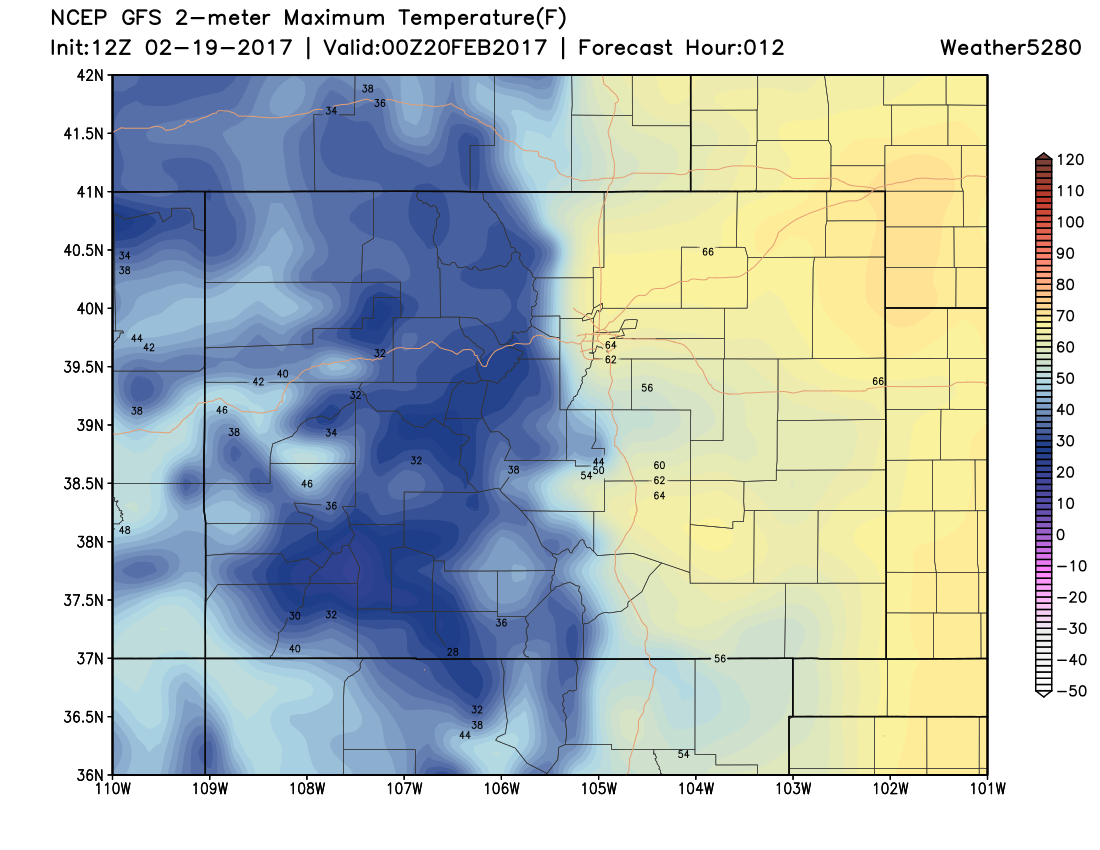 12Z GFS 2m Mam Temperatures at 5PM MST Monday|Source: Weather5280 Models