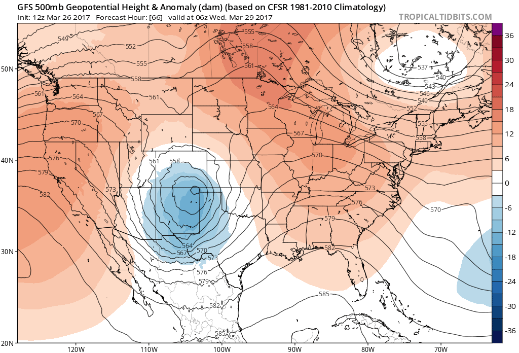 12Z GFS 500 mb heights and anomalies at midnight on Tuesday|Source: Tropical Tidbits