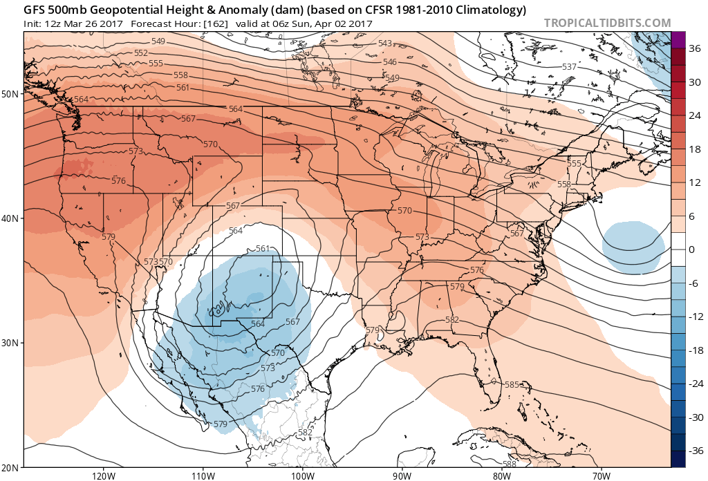 12Z GFS 500 mb heights and anomalies midnight Saturday night|Source: Tropical Tidbits