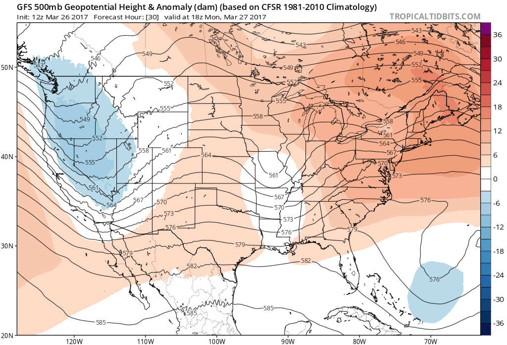 12Z GFS 500 mb heights and anomalies for 12:00 PM MDT Monday|Source:Tropical Tidbits