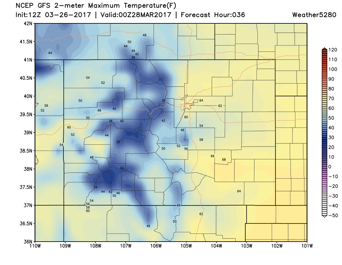 12Z GFS 2m temperatures|Source: Weather5280