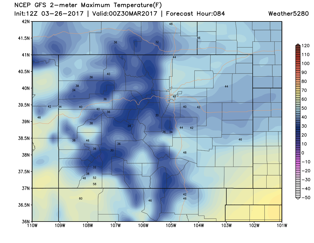 12Z GFS 2m temperatures at 6 PM MDT Wednesday|Source: Weather5280