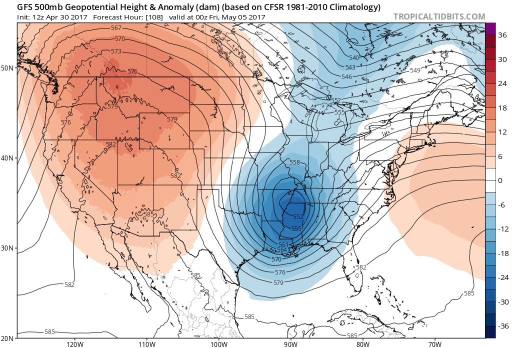 12Z GFS 500mb Geopotential Heights|Source:Tropical Tidbits