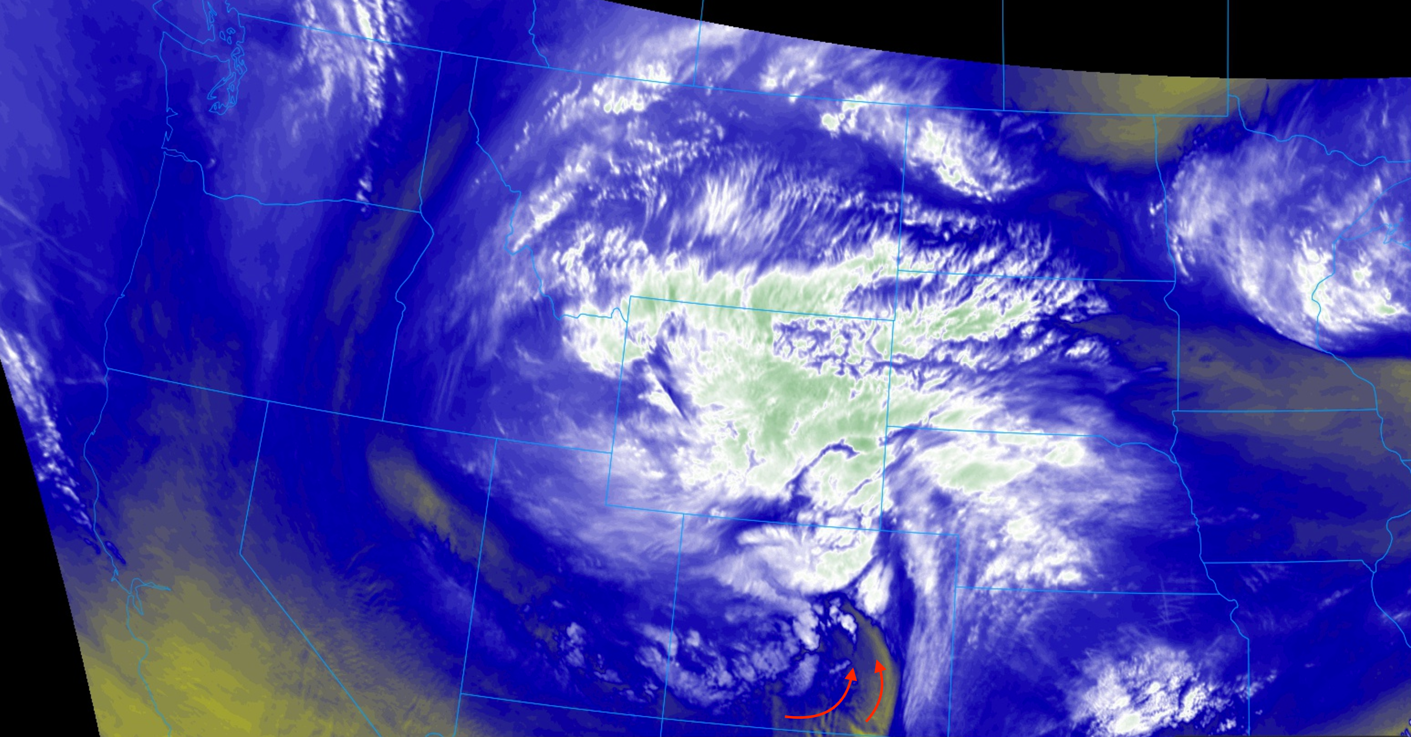 Water vapor shows dry air pushing into southern Colorado