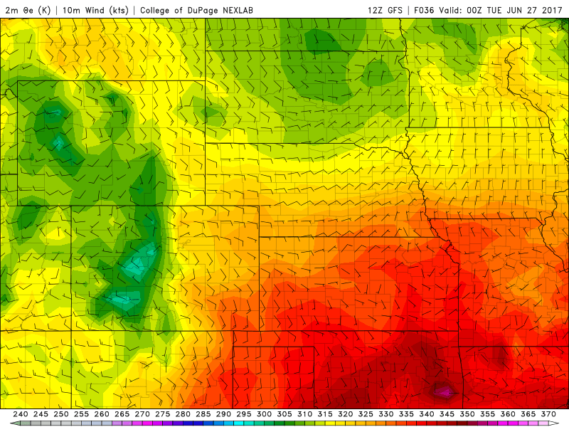 12Z GFS 2m theta-e and 10m AGL winds|Source: College of DuPage