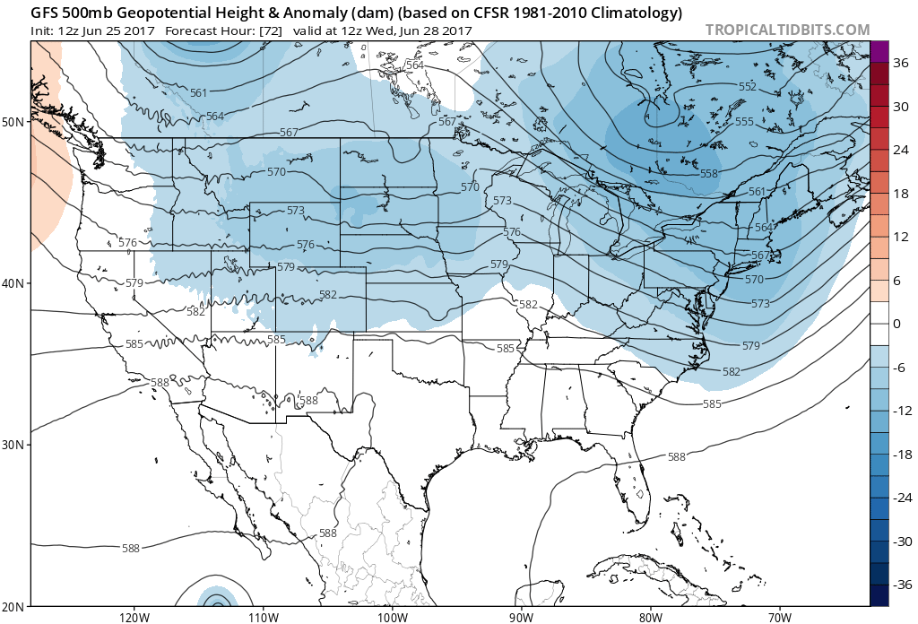 12Z GFS 500 mb geopotential heights and anomalies|Source: Tropical Tidbits