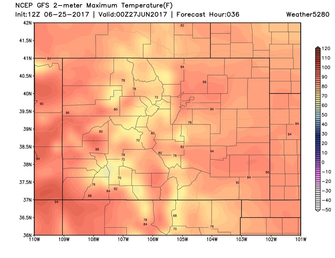 12Z GFS 2m max temperatures|Source: Weather5280