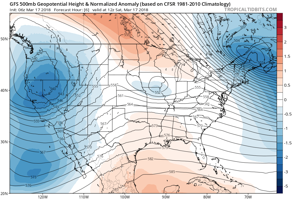 Next trough in the west (blues) set to impact eastern Colorado Sunday into Monday