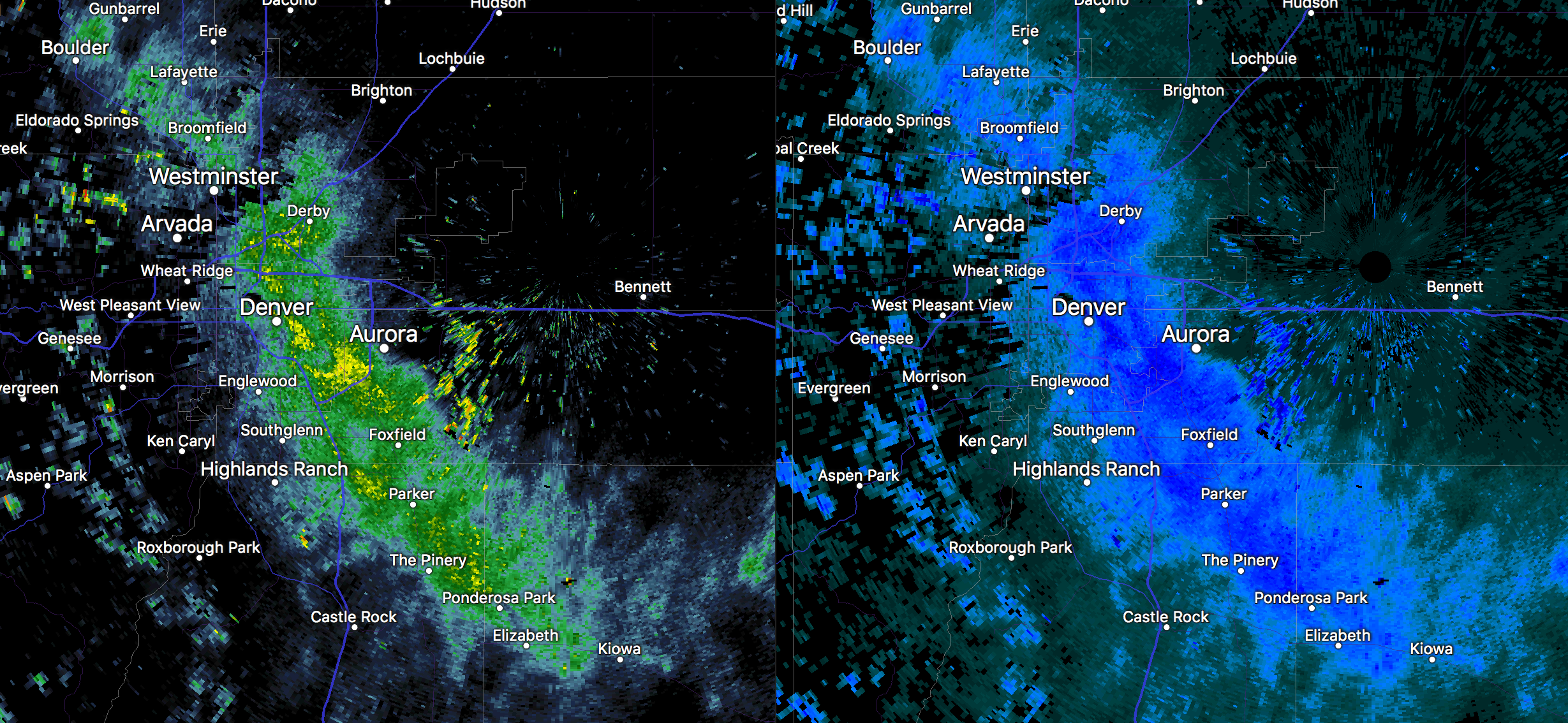 Radar image at 7:35am Monday morning showing moderate to heavy snowfall along and east of I-25 in Denver