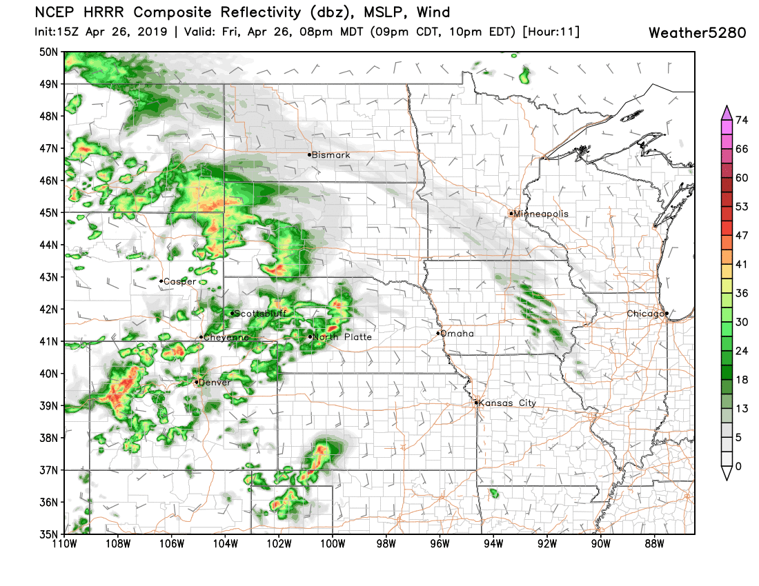 HRRR shows showers and storms across Colorado this evening