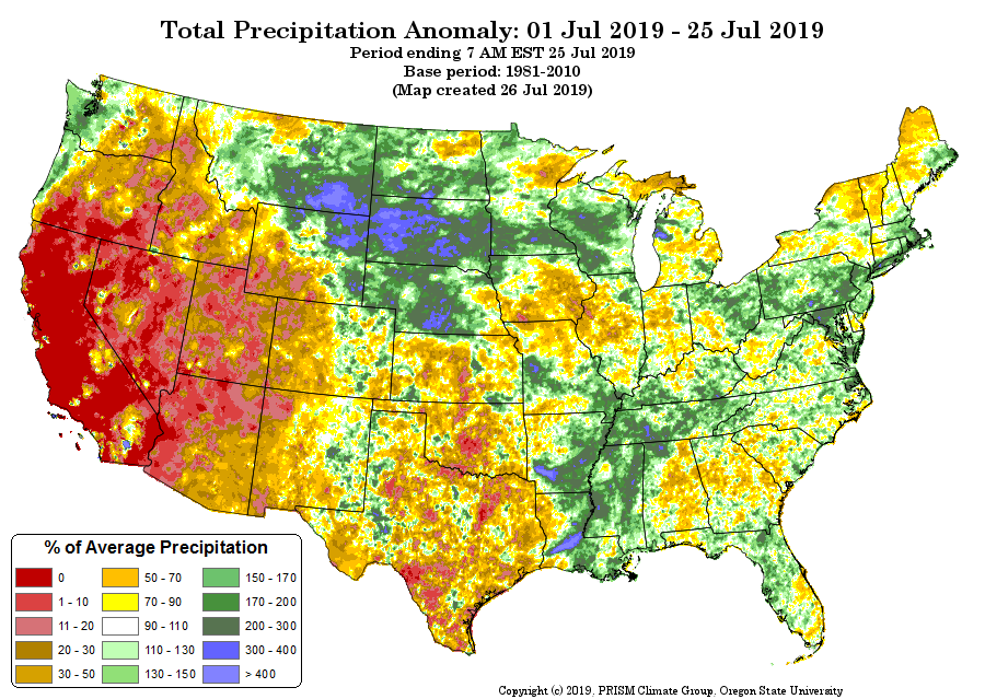 July rainfall to date - PRISM