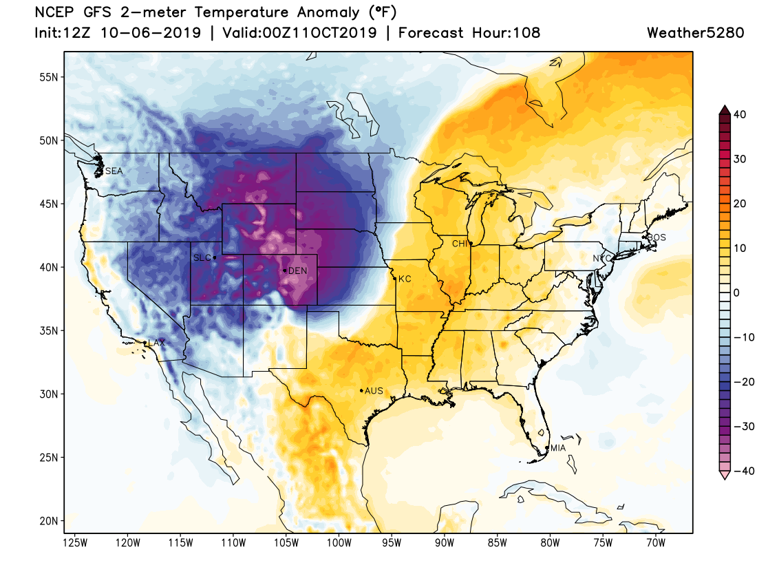 GFS temperature anomaly forecast for Thursday afternoon