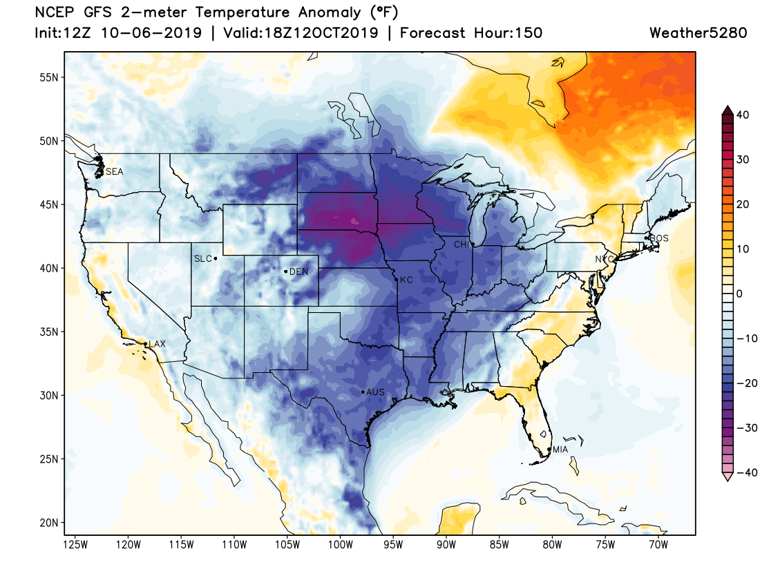 The cold spreads east for the weekend