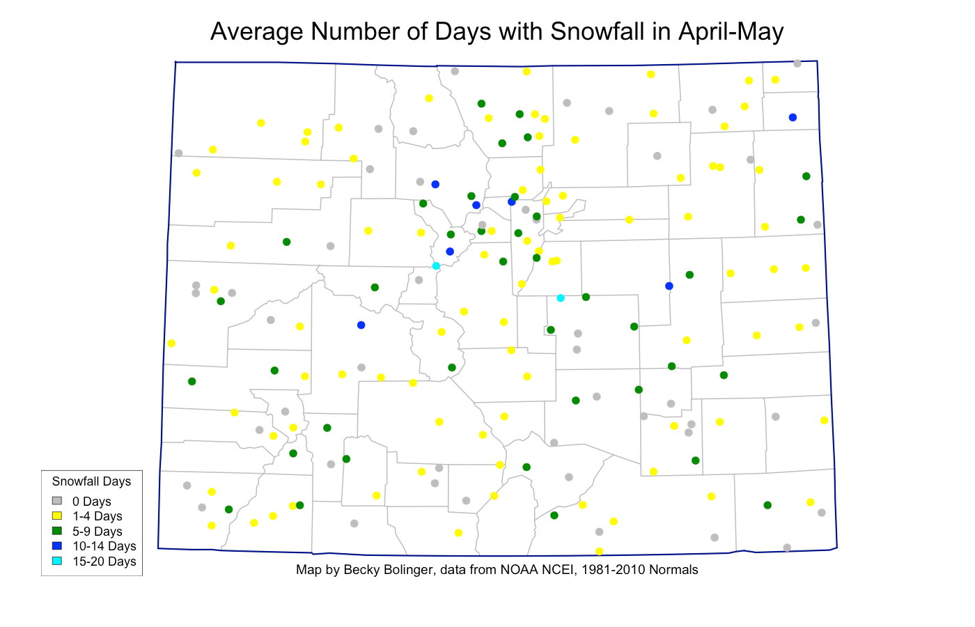 Average number of days with snowfall in Colorado during April-May
