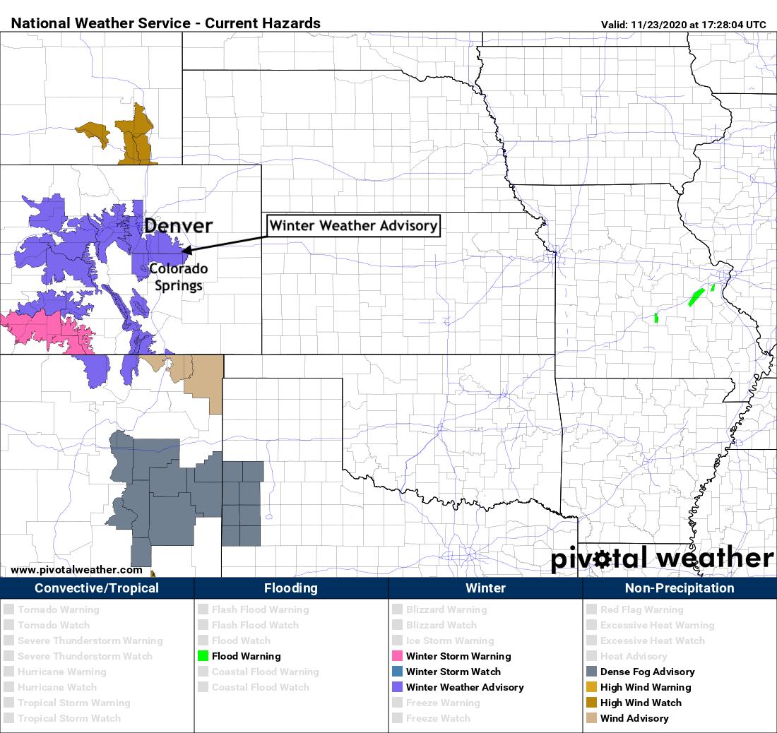 image: Winter Weather Advisory posted for the Palmer Divide and foothills, rain and snow arrive tonight