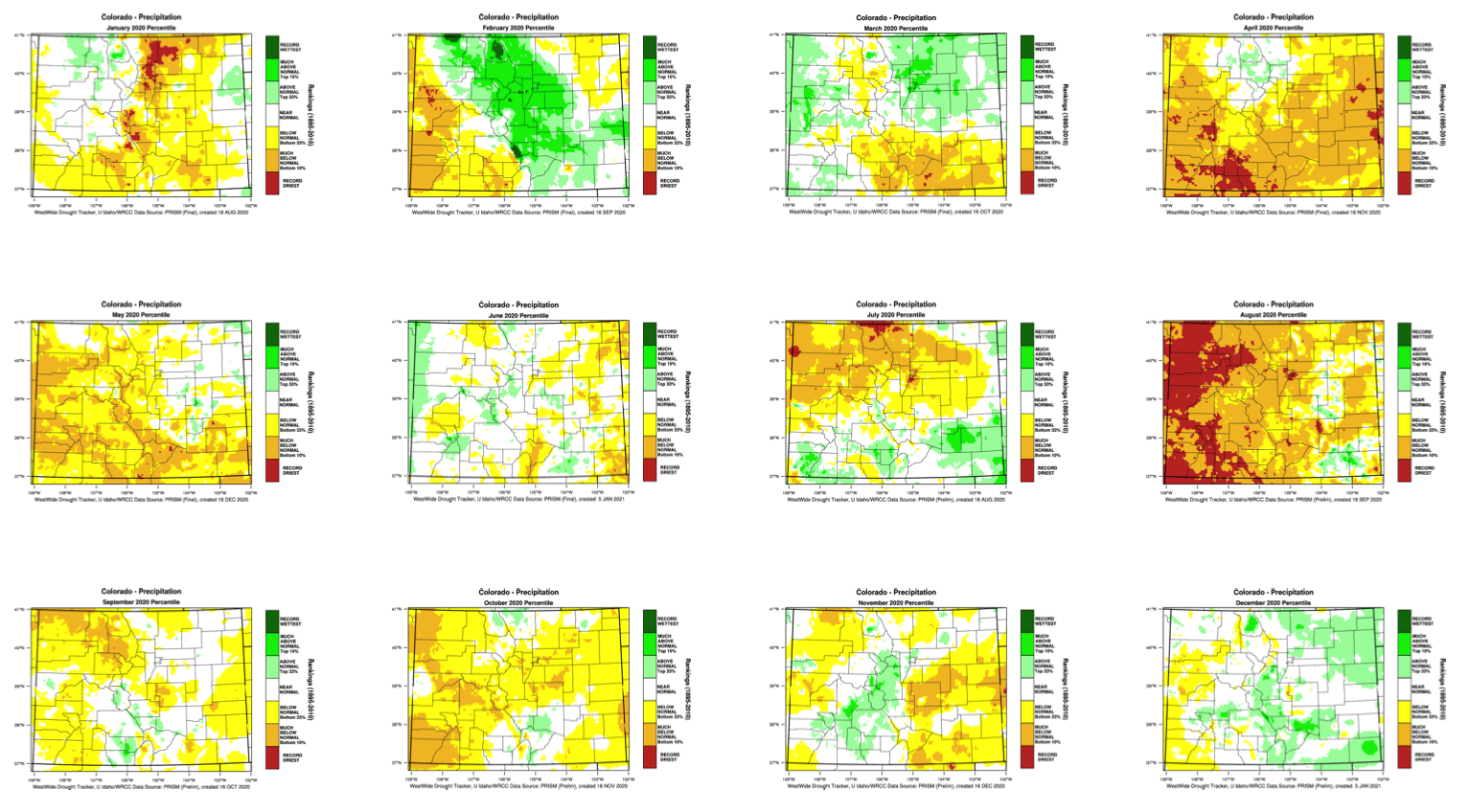 image: 2020 was Colorado's 2nd driest year on record, a progression in images