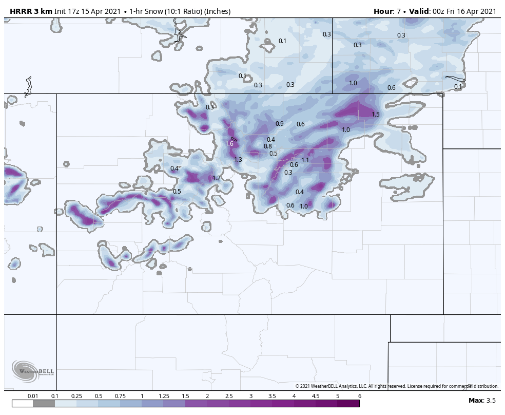 image: Latest snowfall forecast and discussion for Denver, Northeast Colorado