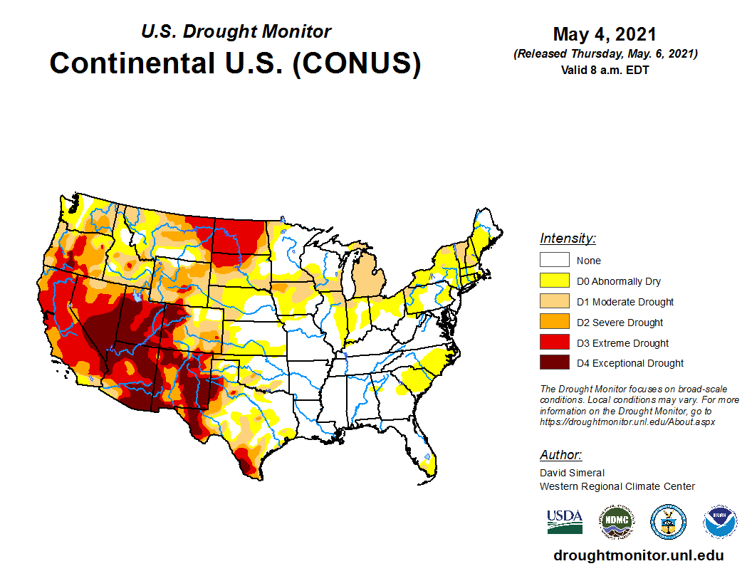 image: Drought update & the outlook: Friday, May 7th, 2021